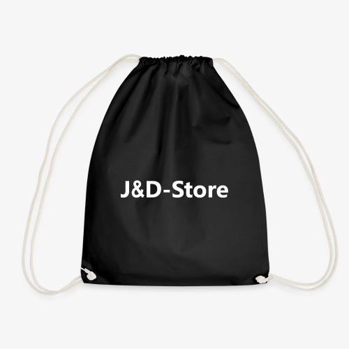 Schwarze Klamotten mit weißer J&D-Shop Schrift - Turnbeutel