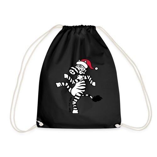 Christmas Zebra - Drawstring Bag