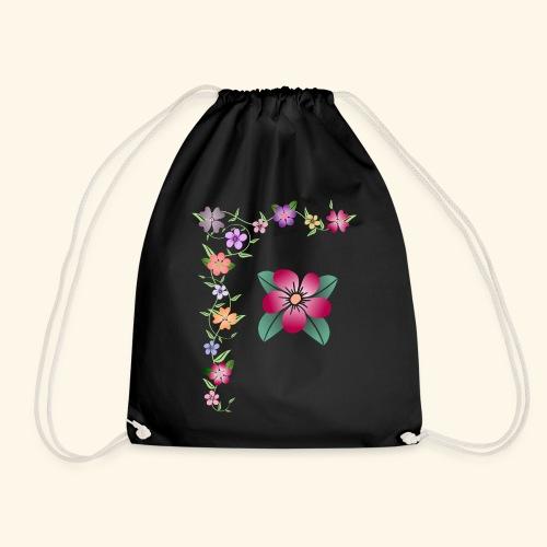 Blumenranke, Blumen, Blüten, floral, blumig, bunt - Turnbeutel