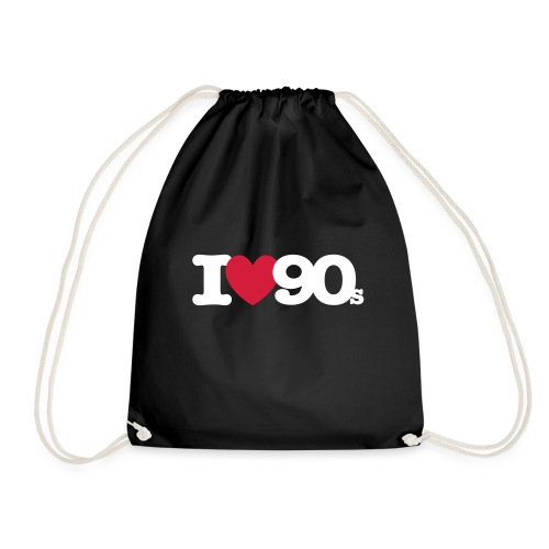 I love 90s Logo weiß/rot - Turnbeutel