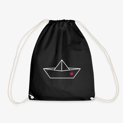 Segelboot Boot Papier Schiff Herz Liebe Geschenk - Turnbeutel