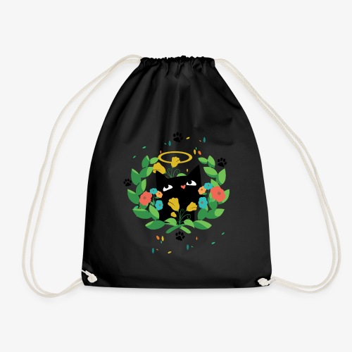Black cat design for cat lovers - Drawstring Bag