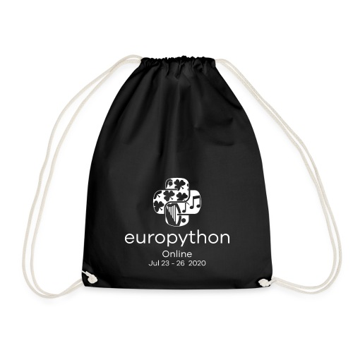 EuroPython 2020 - Vertical White Logo - Drawstring Bag