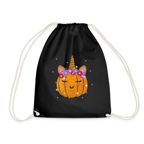 Cute Unicorn Pumpkin Funny Halloween Thanksgiving - Drawstring Bag