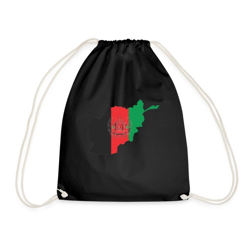 Afghanistan Flag in its Map Shape - Drawstring Bag