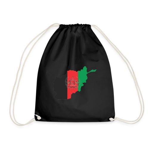 Afghanistan Flag in its Map Shape - Drawstring Bag
