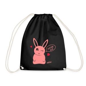 Bunny heart pink - Drawstring Bag