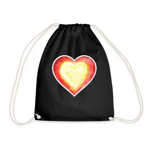 Burning Fire heart - Drawstring Bag