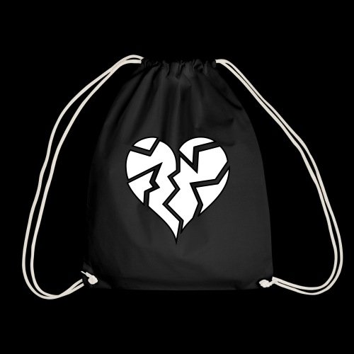 White HeartBroken - Drawstring Bag