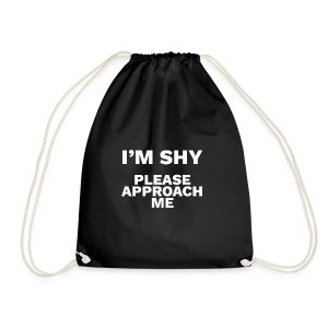 I'm Shy Please Approach Me by MarkoMitroviccom - Drawstring Bag