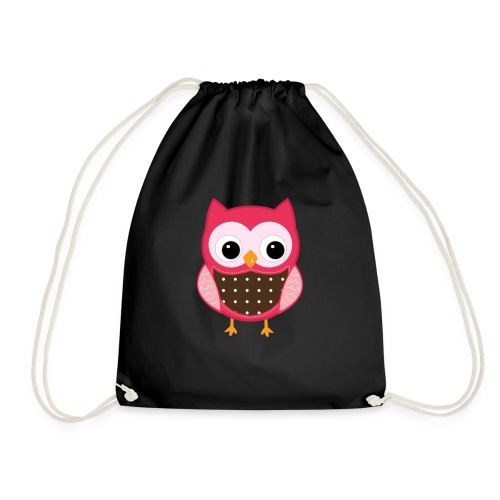 little pink owl - Drawstring Bag