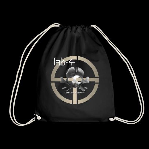 CAD Skull 9 White Text - Drawstring Bag
