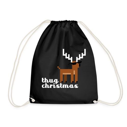 Christmas Xmas Deer Pixel Funny - Drawstring Bag