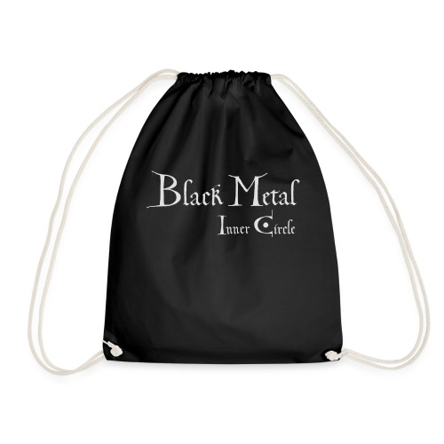 Black Metal Inner Circle, white - Drawstring Bag