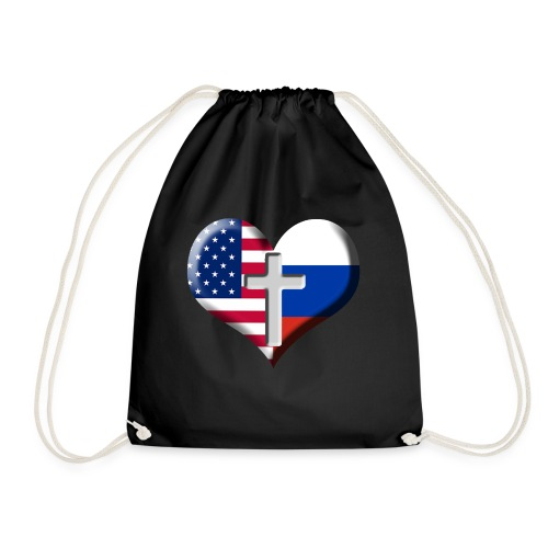 USA and Russia Heart with Cross - Drawstring Bag