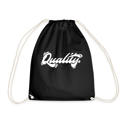 Quality. Lettering [White] - Drawstring Bag