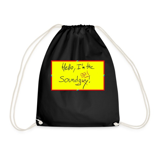 hello, I am the sound girl - yellow sign - Drawstring Bag