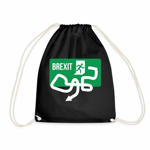Brexit Exit Sign - Drawstring Bag