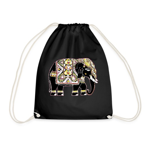 Indian elephant for luck - Drawstring Bag