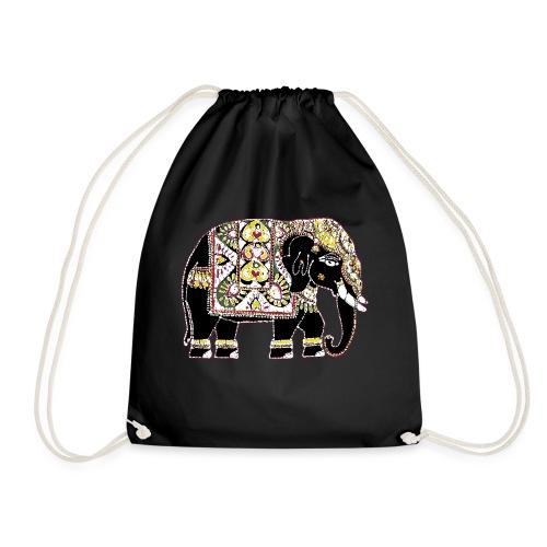 Indian elephant for luck - Drawstring Bag