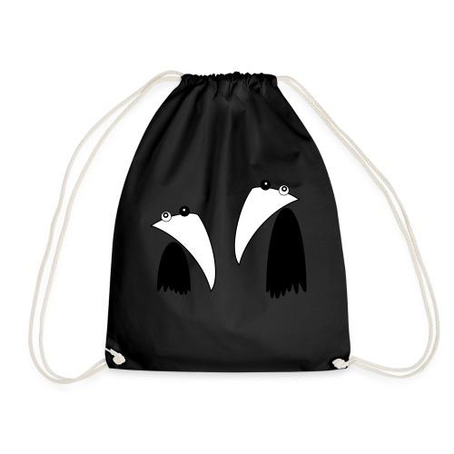Raving Ravens - black and white 1 - Drawstring Bag