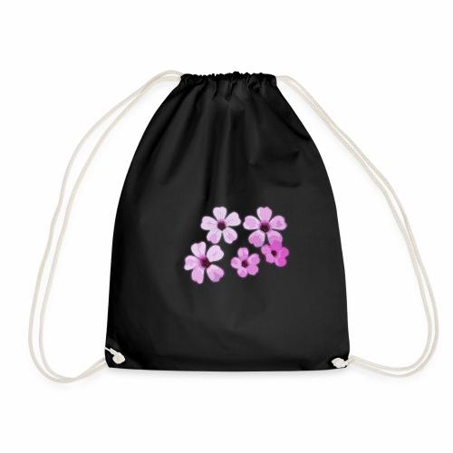 Blumen violett - Turnbeutel