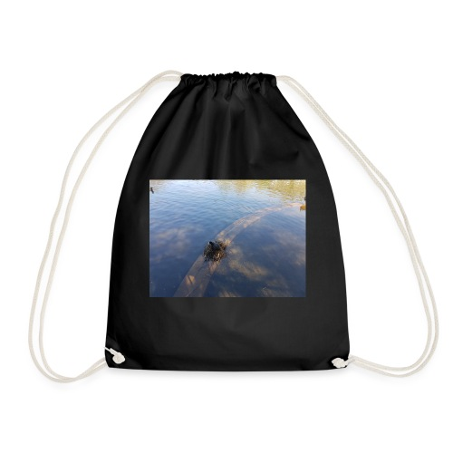 birds on a nest on the river - Drawstring Bag