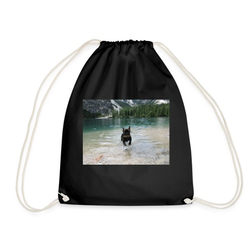 Hund spielt im Wasser - Turnbeutel