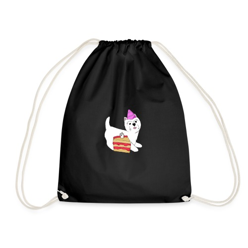 Birthday Westie dog - Drawstring Bag