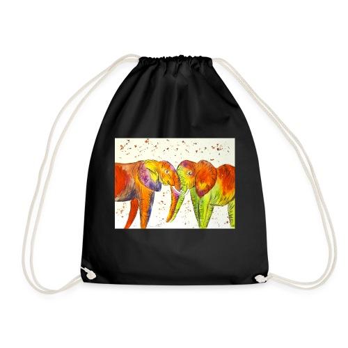 Colourful Elephants Kissing - Drawstring Bag