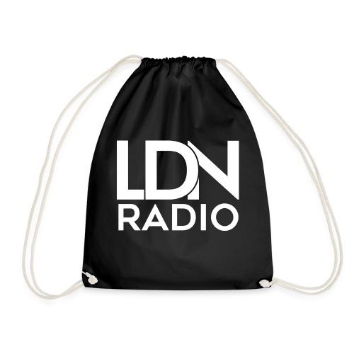 LDN Radio Logo white - Drawstring Bag