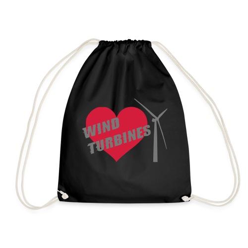 wind turbine grey - Drawstring Bag