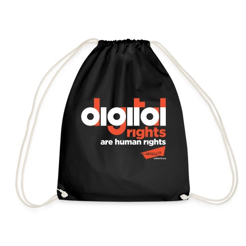 Digital Rights are Human Rights Black (black) - Drawstring Bag