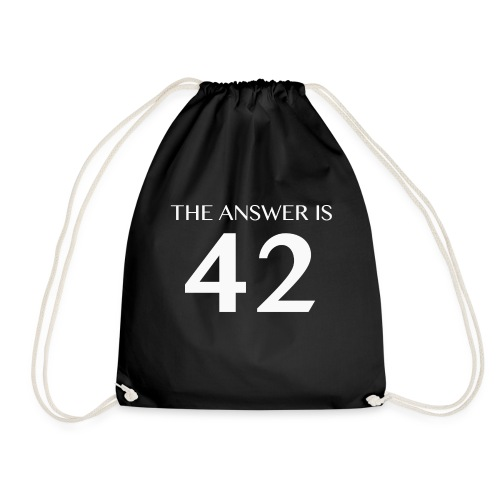 The Answer is 42 White - Drawstring Bag