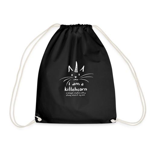I am a kittehcorn - white - Drawstring Bag