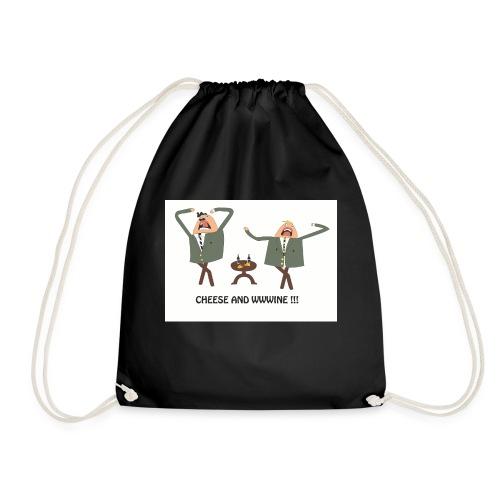 cheese and wine - Drawstring Bag