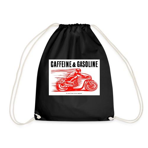 Caffeine & Gasoline black text - Drawstring Bag