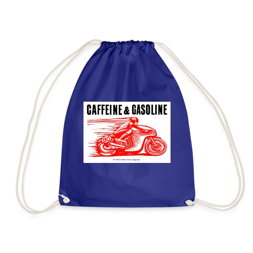 Caffeine & Gasoline black text - Drawstring Bag