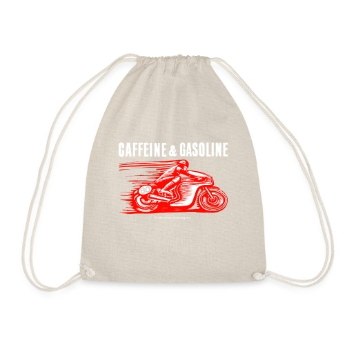 Caffeine & Gasoline white text - Drawstring Bag