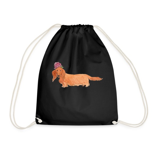 dachshund with flower - Sportstaske