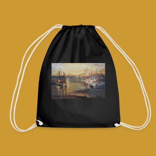 White Fishing - Mark Noble Art - Drawstring Bag