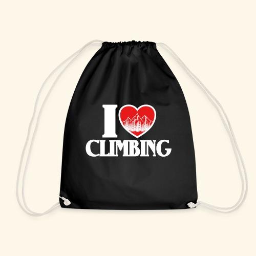 I Love Climbing Ich liebe Klettern Herz Berge Wald - Turnbeutel