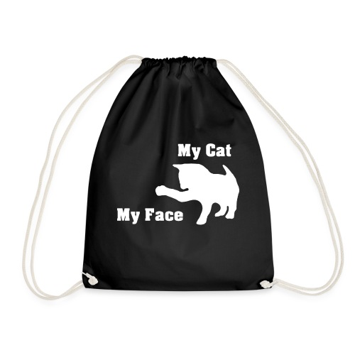 My cat my face my cat my face gift - Drawstring Bag
