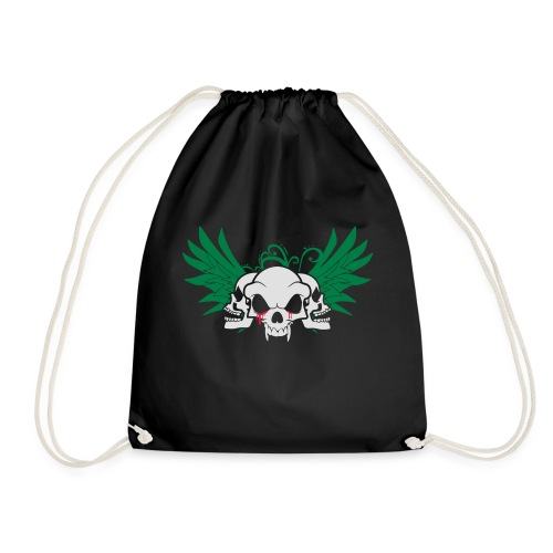 skull and wings - Drawstring Bag