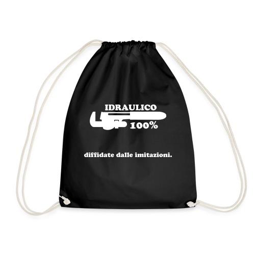 Idraulico 100% Logo XL BIANCO - Sacca sportiva