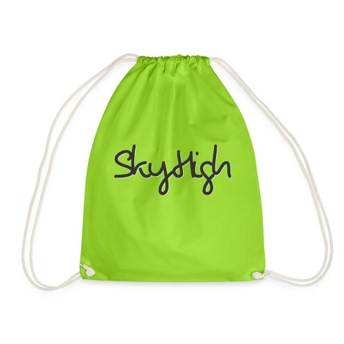 SkyHigh - Men's Premium Hoodie - Black Lettering - Drawstring Bag