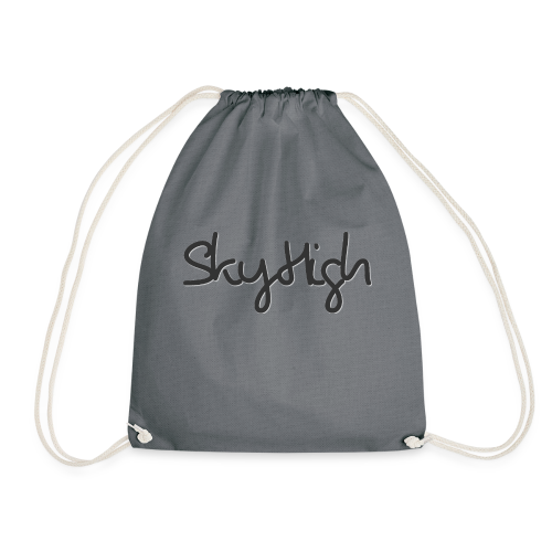 SkyHigh - Men's Premium Hoodie - Black Lettering - Drawstring Bag