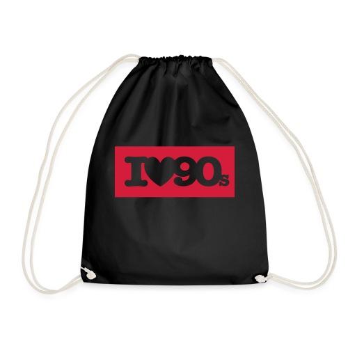 I love 90s Logo (Kasten) - Turnbeutel