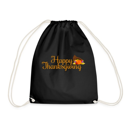 Happy Thanksgiving Words - Drawstring Bag