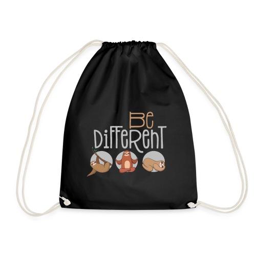 Sei anders und Besonders - be different Faultier - Turnbeutel